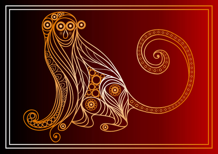 copycat: Vector illustration of fire monkey, symbol of 2016. Silhouette of ape, decorated with floral pattern. Vector element for New Years design. Illustration