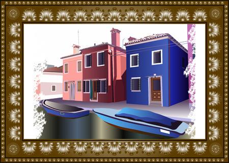 lagoon: Burano, island in the Venetian lagoon. Colorful houses in Burano, Venice, Italy. Vector illustration.