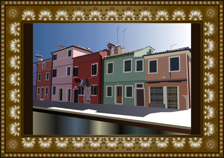 burano: Burano, island in the Venetian lagoon. Colorful houses  in Burano, Venice, Italy. Vector illustration. Illustration