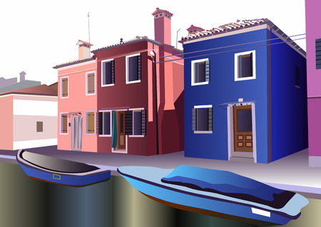 lagoon: Burano, island in the Venetian lagoon. Colorful houses  in Burano, Venice, Italy. Vector illustration. Illustration