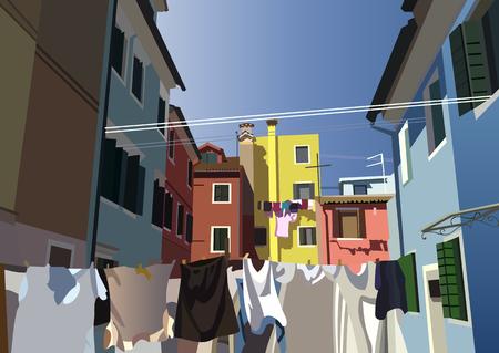lagoon: Burano, island in the Venetian lagoon. Colorful houses  in Burano, Venice, Italy. Vector illustration. Illustration