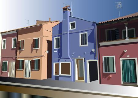 Burano, island in the Venetian lagoon. Colorful houses  in Burano, Venice, Italy. Vector illustration. Illustration