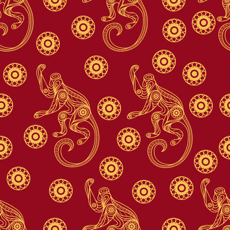abstract gorilla: Seamless texture of fire monkey, symbol of 2016. Continuous pattern of ape, decorated with floral pattern. Suitable for New Years design: cloth, web, wallpaper, wrapping. Vector illustration.