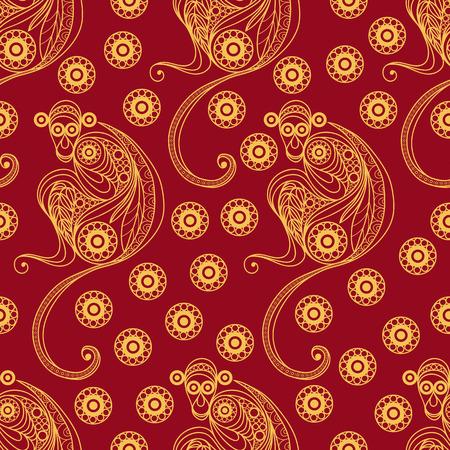 Nahtlose Beschaffenheit des Feuers Affe, Symbol der 2016. Kontinuierliches Muster von Affen, mit Blumenmuster verziert. Geeignet für Entwurf des neuen Jahres: Tuch, Web, Tapete, Verpackung. Vektor-Illustration. Standard-Bild - 48483021