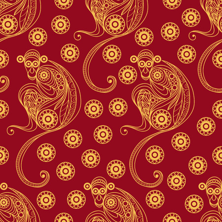 Seamless texture of fire monkey, symbol of 2016. Continuous pattern of ape, decorated with floral pattern. Suitable for New Year's design: cloth, web, wallpaper, wrapping. Vector illustration.