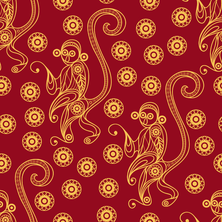 gobelin tapestry: Seamless texture of fire monkey, symbol of 2016. Continuous pattern of ape, decorated with floral pattern. Suitable for New Years design: cloth, web, wallpaper, wrapping. Vector illustration.