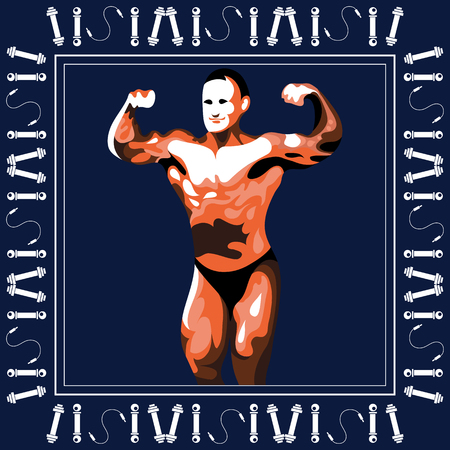 male model torso: Graphic illustration of young bodybuilder man. Vector for sport club label, banner or poster design.