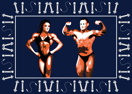 male model torso: Graphic illustration of young bodybuilder man and woman. Vector for sport club label, banner or poster design.
