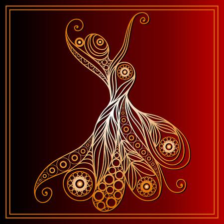bailando flamenco: Ni�a espa�ola en un baile flamenco vestido. Adecuado para la invitaci�n, aviador, etiqueta engomada, cartel, bandera, tarjeta, etiqueta, cubierta, web. Ilustraci�n del vector.