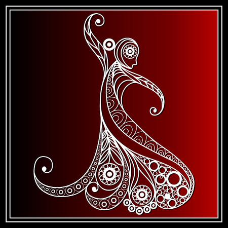 bailando flamenco: Niña española en un baile flamenco vestido. Adecuado para la invitación, aviador, etiqueta engomada, cartel, bandera, tarjeta, etiqueta, cubierta, web. Ilustración del vector.