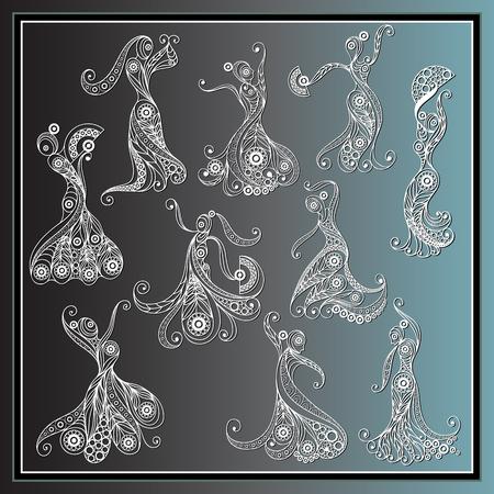 bailando flamenco: Conjunto (kit, grupo) de las j�venes espa�olas en un vestido de baile flamenco. Adecuado para la invitaci�n, folleto, etiqueta engomada, cartel, bandera, tarjeta, etiqueta, cubierta, web. Ilustraci�n del vector.