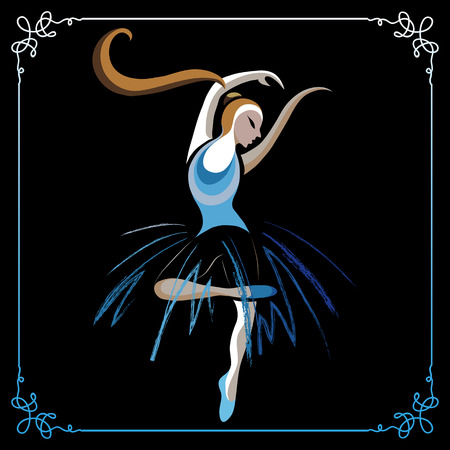 choreography: Young dancer (ballerina). Suitable for invitation, flyer, sticker, poster, banner, card,label, cover, web. Vector illustration. Illustration