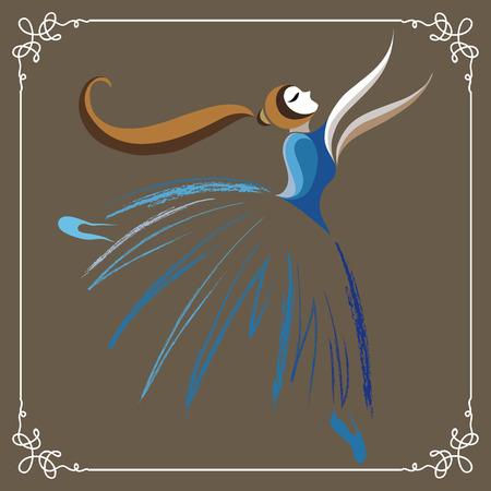 operetta: Young dancer (ballerina). Suitable for invitation, flyer, sticker, poster, banner, card,label, cover, web. Vector illustration. Illustration