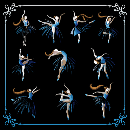 ballerina silhouette: Set (kit, group) of young dancers (ballerinas). Suitable for invitation, flyer, sticker, poster, banner, card,label, cover, web. Vector illustration.
