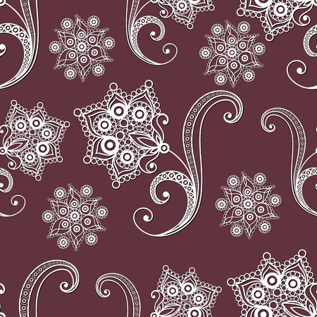 Seamless texture with lace pattern in floral style. Suitable for design: cloth, web, wallpaper, wrapping. Vector illustration. Illustration
