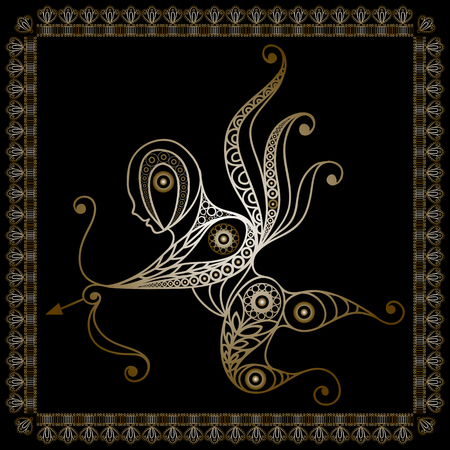 amur: Silhouette of a patterned gold Amur Cupid, Love in floral style. Suitable for invitation, flyer, sticker, poster, banner, card, label, cover, web. Vector illustration.