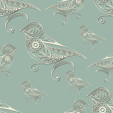 gobelin tapestry: Seamless texture with lace pattern in floral style (with bird). Suitable for design: cloth, web, wallpaper, wrapping. Vector illustration. Illustration
