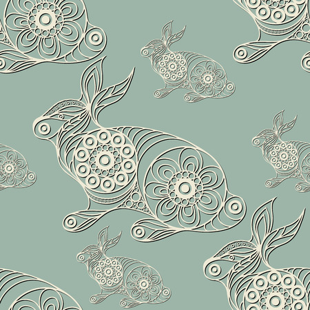 coney: Seamless texture with lace pattern in floral style (with rabbit (lapin, bunny, coney, hare). Suitable for design: cloth, web, wallpaper, wrapping. Vector illustration. Illustration