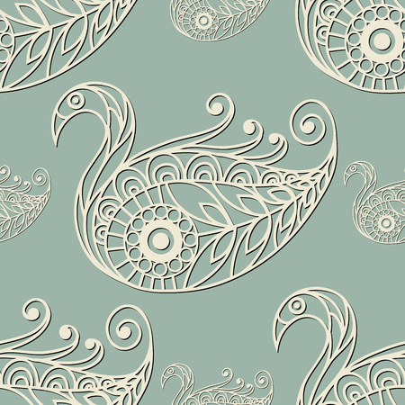 gobelin: Seamless texture with lace pattern in floral style (with swan). Suitable for design: cloth, web, wallpaper, wrapping. Vector illustration.