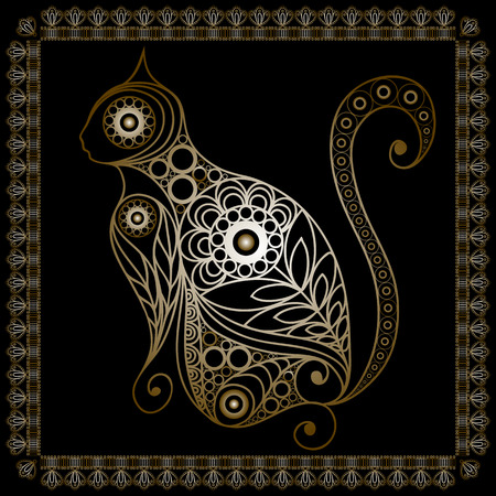 napkin: Silhouette of a patterned gold cat in floral style. Suitable for invitation, flyer, sticker, poster, banner, card,label, cover, web. Vector illustration. Illustration