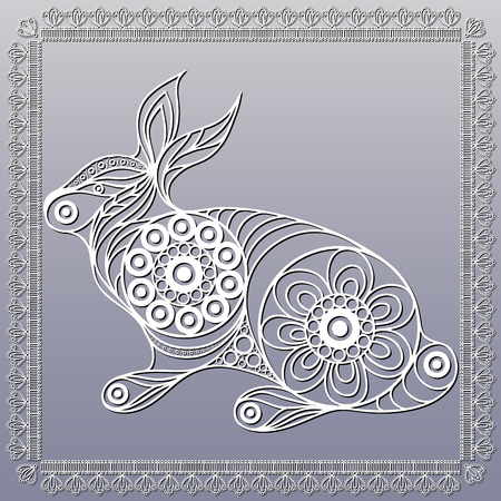 coney: Silhouette of a patterned rabbit (lapin, bunny, coney, hare) in floral style. Suitable for invitation, flyer, sticker, poster, banner, card,label, cover, web. Vector illustration. Illustration