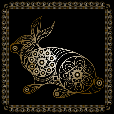 coney: Silhouette of a patterned gold rabbit (lapin, bunny, coney, hare) in floral style. Suitable for invitation, flyer, sticker, poster, banner, card,label, cover, web. Vector illustration. Illustration