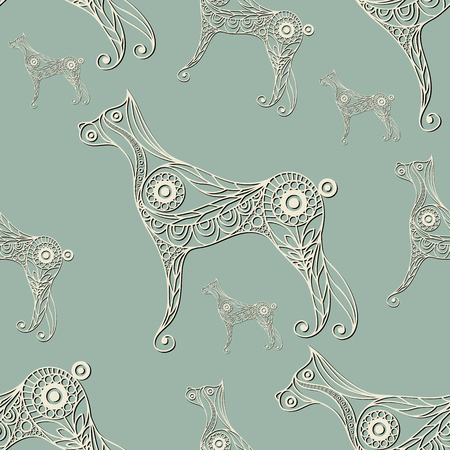 hound: Seamless texture with lace pattern in floral style (with dog (hound). Suitable for design: cloth, web, wallpaper, wrapping. Vector illustration.