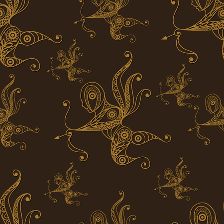 amur: Seamless texture with lace pattern in floral style (with Amur (Cupid, Love). Suitable for design: cloth, web, wallpaper, wrapping. Vector illustration.