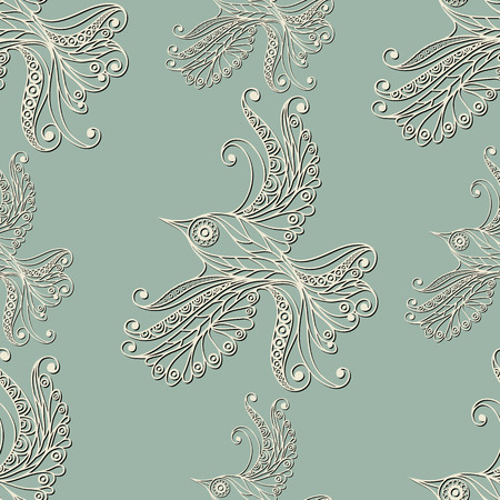 gobelin: Seamless texture with lace pattern in floral style (with bird). Suitable for design: cloth, web, wallpaper, wrapping. Vector illustration. Illustration