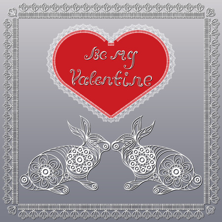 coney: Lace valentine heart in floral style with rabbits. Suitable for invitation, flyer, sticker, poster, banner, card,label, cover, web. Vector illustration.