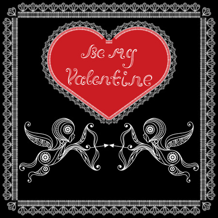 amur: Lace valentine heart in floral style with Amur (Cupid, Love). Suitable for invitation, flyer, sticker, poster, banner, card,label, cover, web. Vector illustration. Illustration
