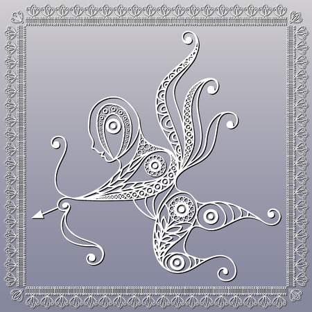 amur: Silhouette of a patterned Amur Cupid, Love in floral style. Suitable for invitation, flyer, sticker, poster, banner, card, label, cover, web. Vector illustration.
