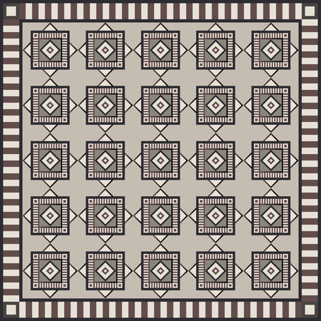 interior cell: Art vintage abstract seamless pattern or texture (background). Ethnic geometric print. Suitable for tile, fabric, cloth design, wallpaper, wrapping. Vector illustration.