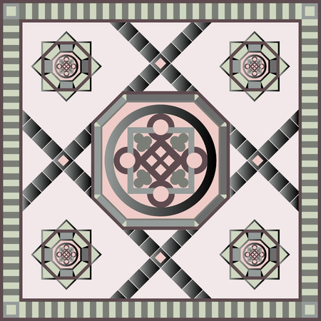 napkin: Art vintage abstract seamless pattern or texture (background). Ethnic geometric print. Suitable for tile, fabric, cloth design, wallpaper, wrapping. Vector illustration.