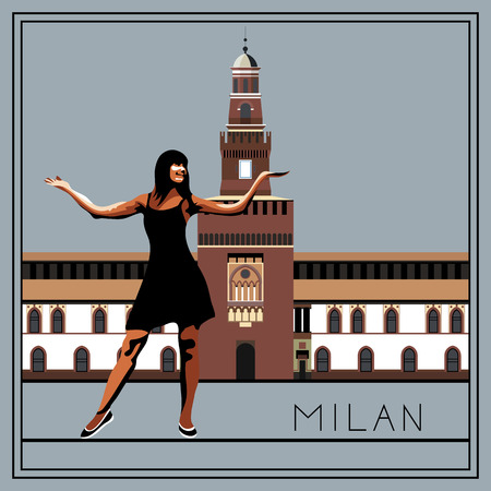 lombardy: Milan. Italy. Lombardy. Sforza Castle. The woman (girl) on the background of architecture. Suitable for invitation, flyer, sticker, poster, banner, card,label, cover, web. Vector illustration.
