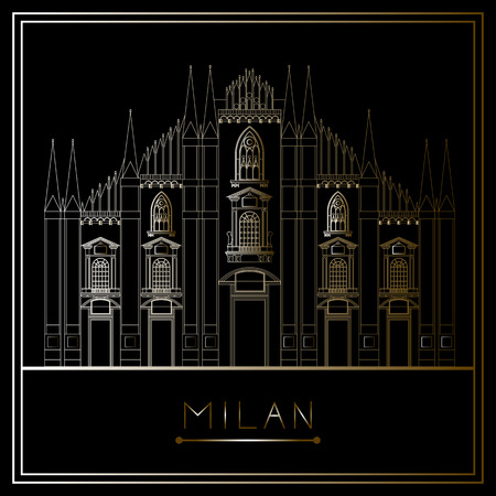 Milan. Italy. Lombardy. Milan Cathedral. Suitable for invitation, flyer, sticker, poster, banner, card,label, cover, web. Vector illustration. Illustration