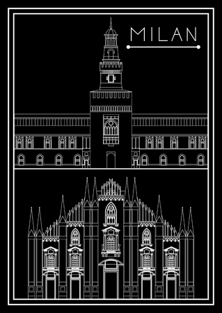 Milan set. Italy. Lombardy. Milan Cathedral. Sforza Castle. Suitable for invitation, flyer, sticker, poster, banner, card,label, cover, web. Vector illustration.