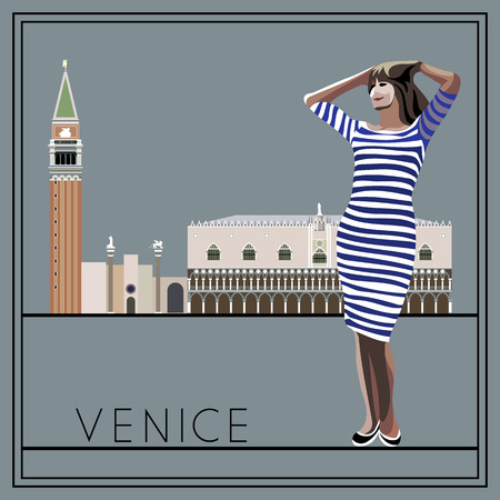 woman girl: Venice. Italy. St. Marks Square (Piazza San Marco). The woman (girl) on the background of architecture. Suitable for invitation, flyer, sticker, poster, banner, card,label, cover, web. Vector illustration.