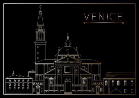 venice italy: Venice. Italy. Cathedral of San Giorgio Maggiore. Suitable for invitation, flyer, sticker, poster, banner, card,label, cover, web. Vector illustration. Illustration