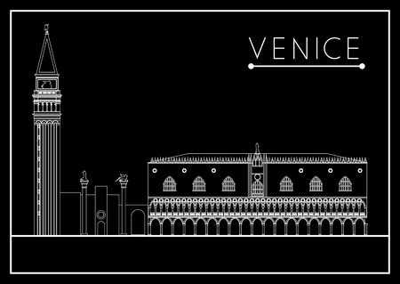 marco: Venice. Italy. St. Marks Square (Piazza San Marco). Suitable for invitation, flyer, sticker, poster, banner, card,label, cover, web. Vector illustration. Illustration