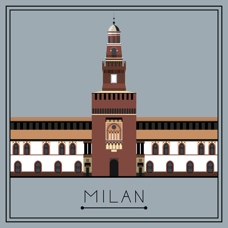 lombardy: Milan. Italy. Lombardy. Sforza Castle. Suitable for invitation, flyer, sticker, poster, banner, card,label, cover, web. Vector illustration. Illustration