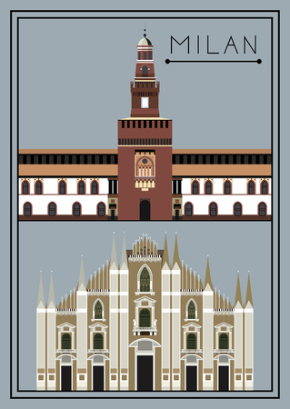 lombardy: Milan set. Italy. Lombardy. Milan Cathedral. Sforza Castle. Suitable for invitation, flyer, sticker, poster, banner, card,label, cover, web. Vector illustration.
