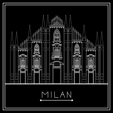 Milan. Italy. Lombardy. Milan Cathedral. Suitable for invitation, flyer, sticker, poster, banner, card,label, cover, web. Vector illustration. 矢量图像