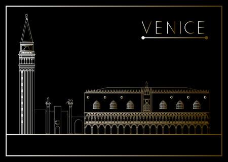 ヴェネツィア。イタリア。サン ・ マルコ広場 (サン ・ マルコ広場)。招待状、チラシ、ステッカー、ポスター、バナー、カード、ラベル、カバー、w