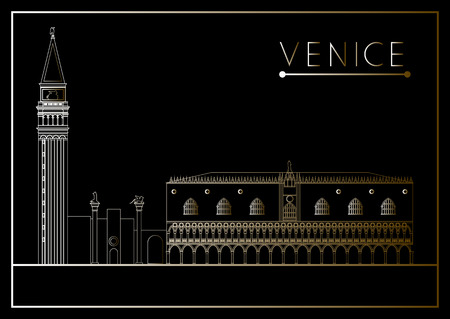 Venice. Italy. St. Mark's Square (Piazza San Marco). Suitable for invitation, flyer, sticker, poster, banner, card,label, cover, web. Vector illustration.