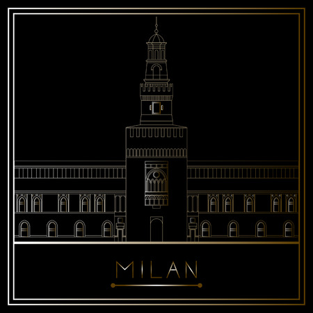 Milan. Italy. Lombardy. Sforza Castle. Suitable for invitation, flyer, sticker, poster, banner, card,label, cover, web. Vector illustration. Illustration