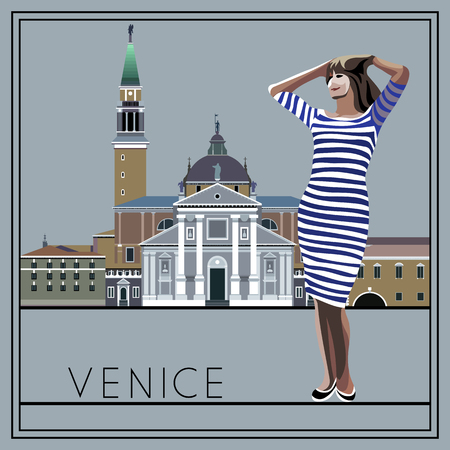 venice italy: Venice. Italy. Cathedral of San Giorgio Maggiore. The woman (girl) on the background of architecture. Suitable for invitation, flyer, sticker, poster, banner, card,label, cover, web. Vector illustration.
