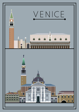 marco: Venice set. Italy. Cathedral of San Giorgio Maggiore. St. Marks Square (Piazza San Marco). Suitable for invitation, flyer, sticker, poster, banner, card,label, cover, web. Vector illustration.