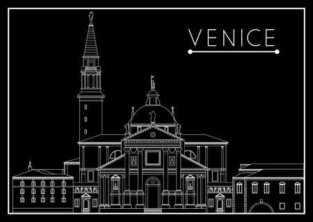 cruise travel: Venice. Italy. Cathedral of San Giorgio Maggiore. Suitable for invitation, flyer, sticker, poster, banner, card,label, cover, web. Vector illustration. Illustration