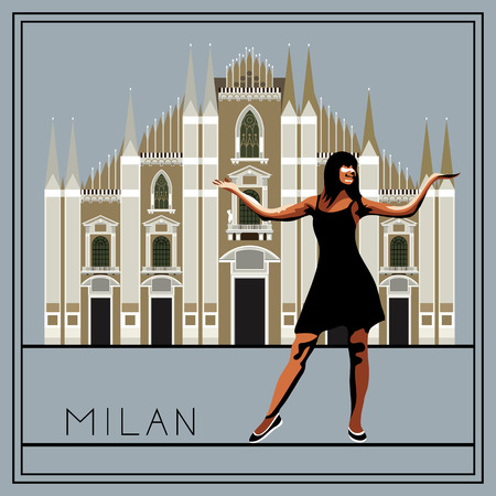 lombardy: Milan. Italy. Lombardy. Milan Cathedral. The woman (girl) on the background of architecture. Suitable for invitation, flyer, sticker, poster, banner, card, label, cover, web. Vector illustration. Illustration